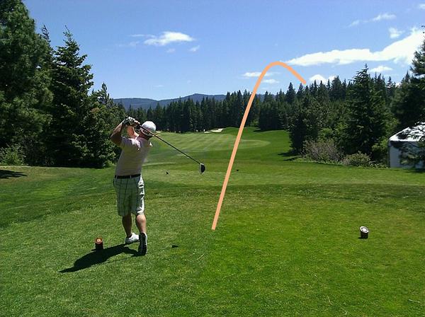 ゴルフスライスする画像