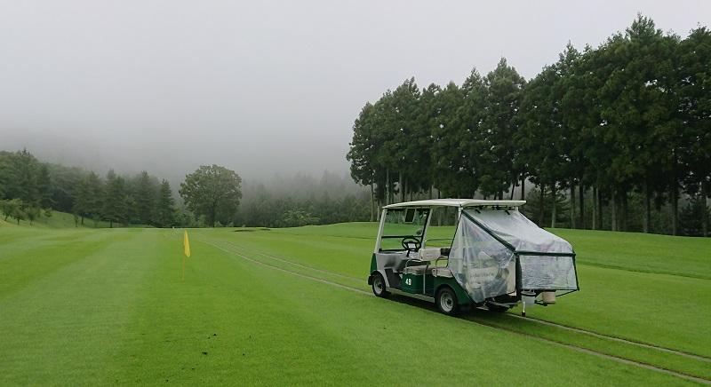 黄色い旗とゴルフカート
