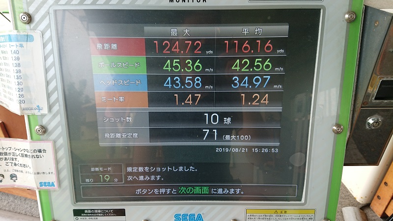 飛距離チェックモードの9アイアン計測結果画面